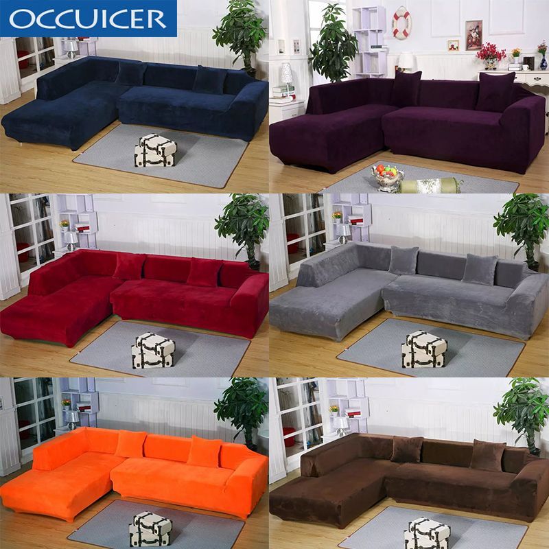 2Pcs Plush Fabric 1/2/3/4 Seater Sofa Cover Thick Sofa Cover Elastic Furniture Slipcover Christmas Home Decor Velvet Couch Cover