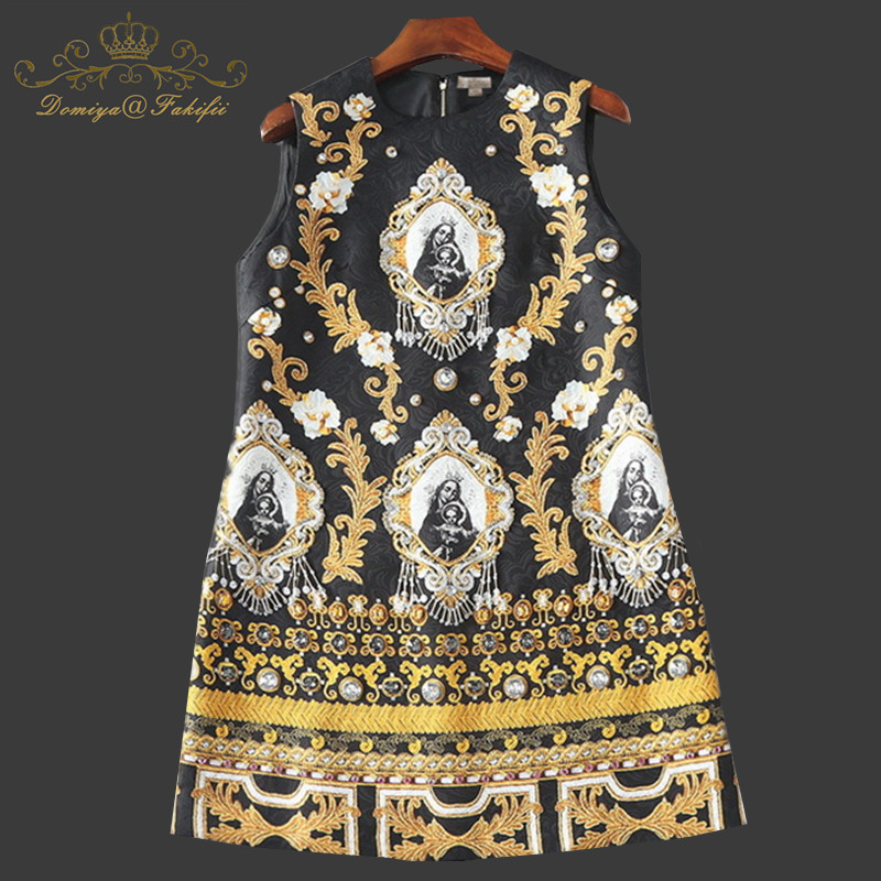Здесь продается  2018 New Fashion Runway Summer Evening Party Dress Women Luxury Beading Godness Printed Vintage Straight Dress Family Clothes  Детские товары