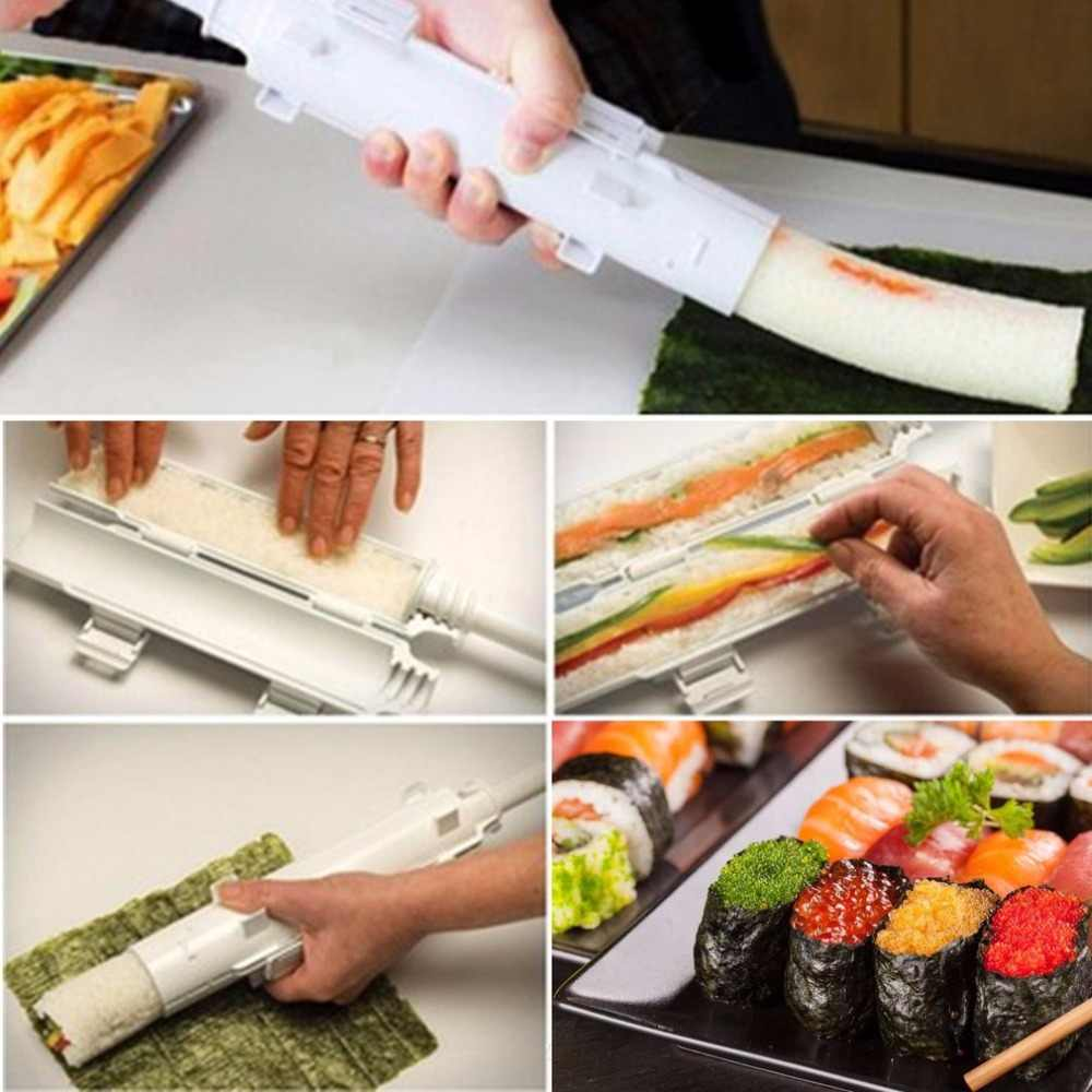 Compact Size Home Kitchen Manual Roll Sushi Making Tools Practical PP Cylindrical Barrel DIY Sushi Mold Gadgets Drop Shipping