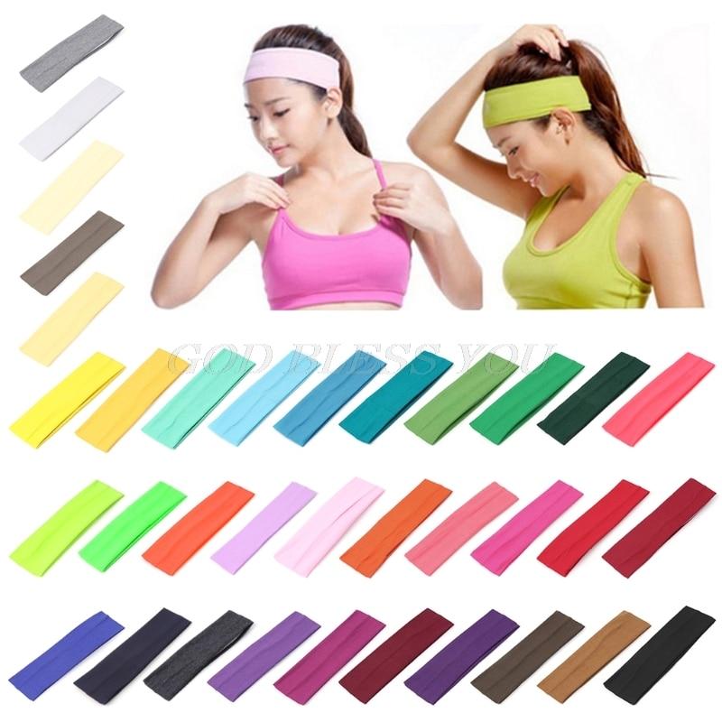 ✔  9 Цвет Спорт Оголовье Эластичный Широкий Йога Упражнения Sweatband Мужчины Женщины Волос Спортивные  ①