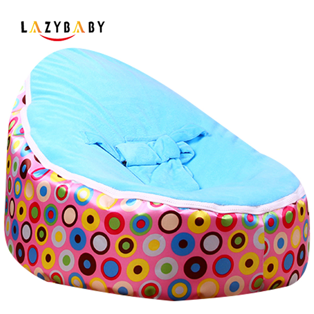 Lazybaby Medium Pink Circle Baby Bean Bag Chair Kids Bed For Sleeping Portable Folding Newborn Babies