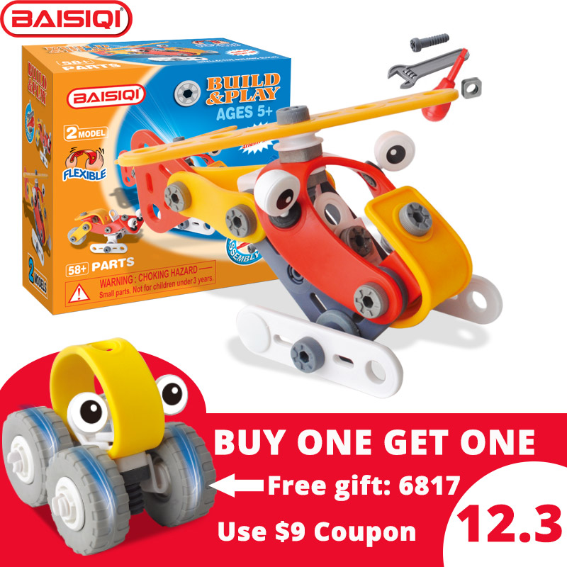 BAISIQI brand new Build&Play screwing block toy for 5-6-7-8-9 year old kid Buy 1 get gift Designer boy 6832