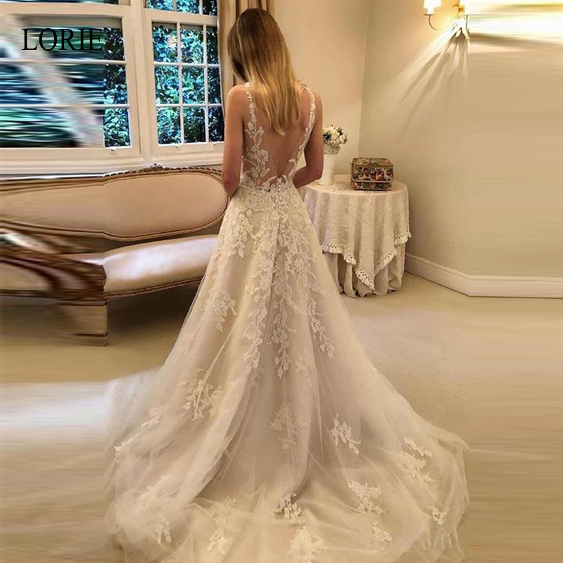 LORIE A Line Wedding Dresses 2019 Elegant Appliques Lace Bride Dress Sweetheart Sleeveless Sweep Train Backless