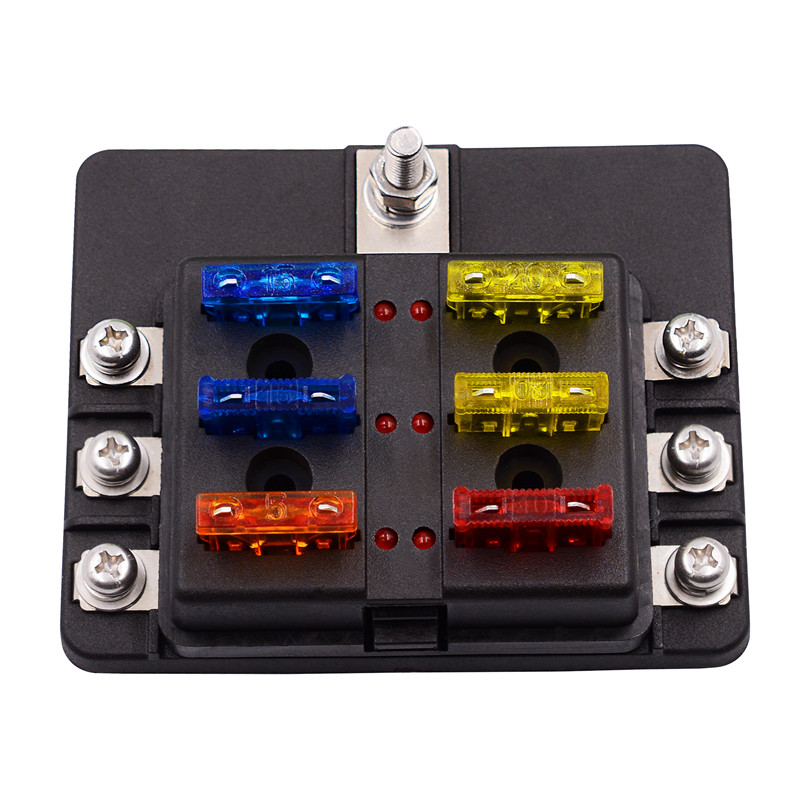 US $7.81 30% OFF Hot 6 Way Blade Fuse Box Holder with LED Light Damp on