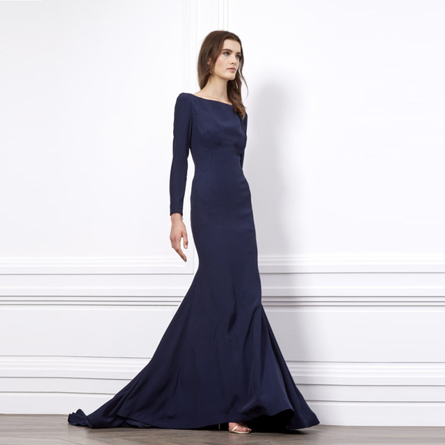 Dark Blue Evening Dresses Floor Length Scalloped Neck Long Sleeve Evening  Gowns Sweep Train Mermaid Stain Formal Evening Dresses b0aeef392632