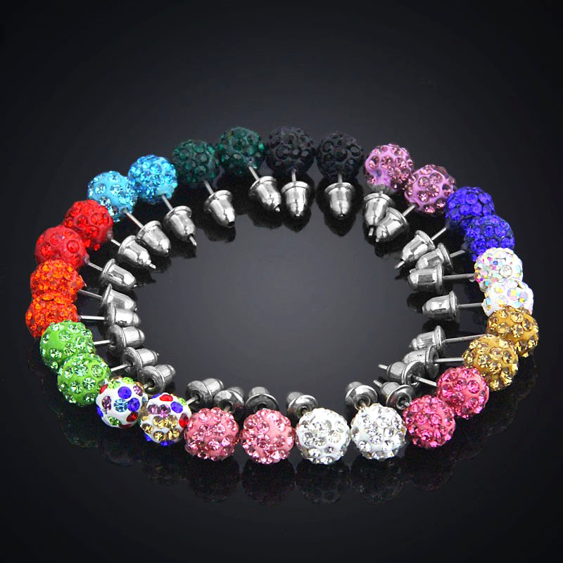 14 Pairs / Box Pave Clay Crystal Earrings For Women 8mm Micro Disco Ball Rhinestone Stud Earrings Set Fashion Jewelry