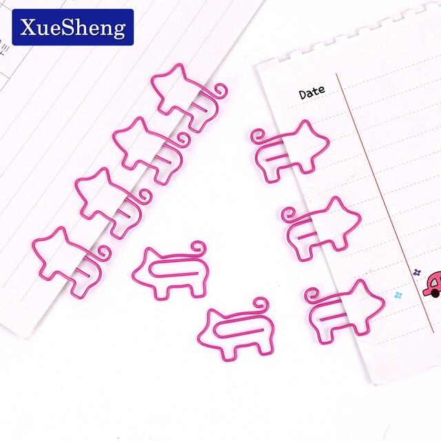 10 pcs Animal Bonito Porco Cor de Rosa Escola Material de Escritório Material Escolar Papelaria do Metal Clipe De Papel Marcador Presente Dos Artigos de Papelaria