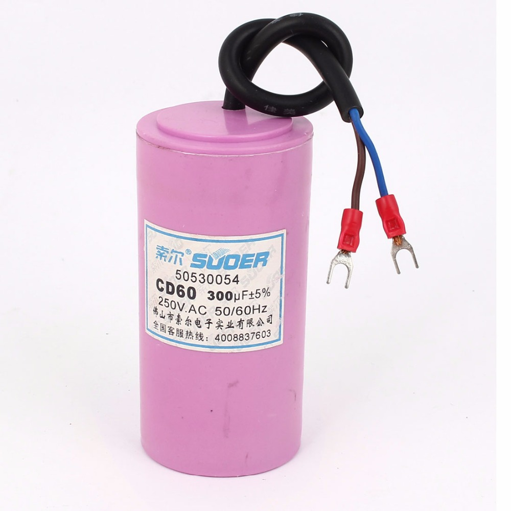 цены  FREE SHIPPING CD60 AC 250V 300uF 50 60Hz Motor Start Capacitor Pink for Washing Machine