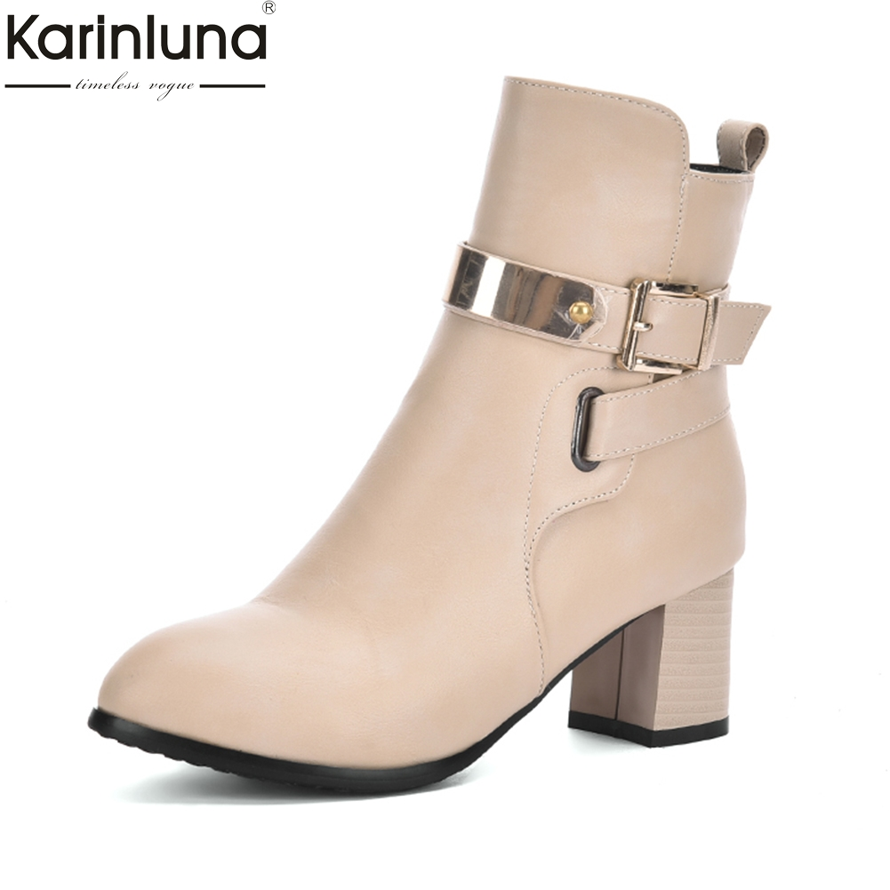 KARINLUNA 2018 BIG Sizes 31-43 add fur winter boots woman shoes fashion high Heels Ankle Boots Shoes woman western boots karinluna 2018 plus size 34 48 add fur winter boots women shoes woman platform high heels sexy ankle boots female shoe footwear