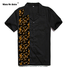 When We Retro Vintage Men Shirt ST110 Music Print Mid-Century Inspired Black Casual Shirts Plus Size camisas hombre