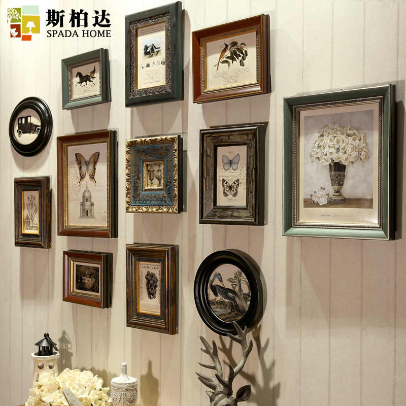 Wooden Photo Frames Vintage Frames For Wall American Retro Frame For Canvas 12 Pieces Picture Frame Wall Set Combination