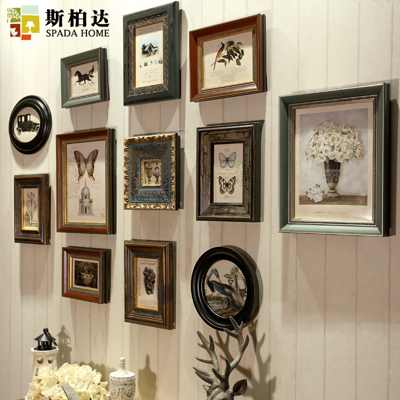 wooden photo frames vintage frames for wall american retro frame for canvas 12 pieces picture. Black Bedroom Furniture Sets. Home Design Ideas