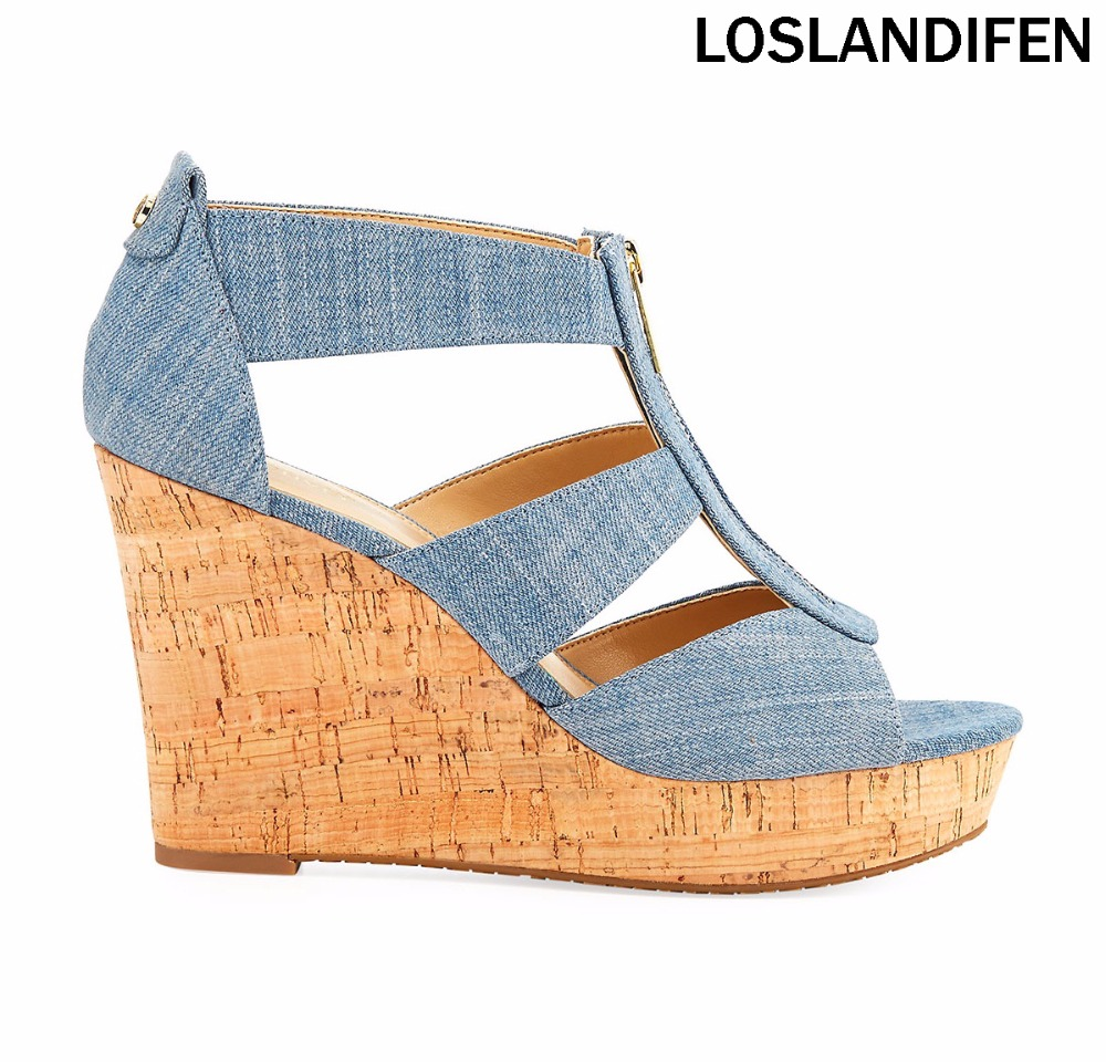2018 New Style Womens Tamitta Denim Wedge Sandal Cutout Vamp High Heel Summer Shoes CKE155 denim embroidered wedge shoes