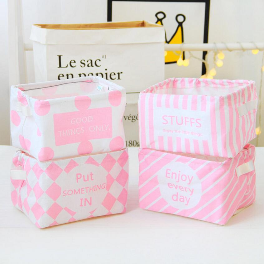 The New Pink series Makeup Cosmetic Storage Box Kids Toys Storage Barrels Organiser Foldable Container floral Storage Basket
