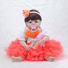 "New arrival 22 ""doll reborn soft silicone reborn with charm Dressup children gift Toys kids babies reborn doll(China)"