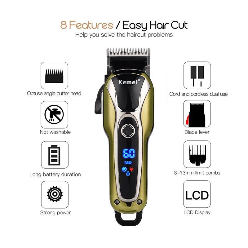 Kemei Hair Clipper Shaver Beard Trimmer Men Rechargeable Razor Hair Trimmer Electric Cutter Hair Cutting Machine Clipper Men