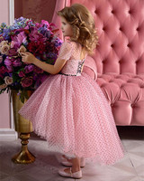 Cute Pink Little Girls Dresses Puffy Tulle Beading Kids Birthday Gown Girls Party Pageant Dresses Size 2 3 6 8 16Y