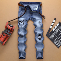 Cool Original Design Of The European And American Style Of Men's Trousers Man Holes Embroidery Skull Elastic Foot Jeans