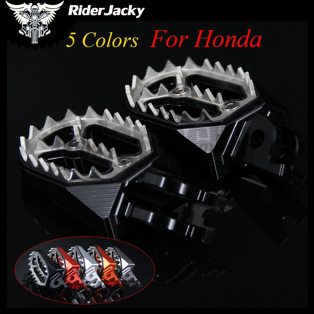 RiderJacky Motorcycle CNC Aluminum Footrests Footpegs Foot Pegs Foot Rests For Honda <font><b>CRF450R</b></font> crf 450 2002-2017 2014 2015 <font><b>2016</b></font> image
