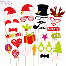 FENGRISE Paper Christmas Hat Funny Moustache Party Photography Props Christmas Decoration Photo Props Photocall(China)