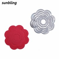 Sunbling Christmas Metal Cutting Dies Festive Flower Stencils For Painting DIY Folder Decorative Card Paper Craft