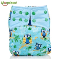 Mumsbest New Washable Baby AIO Cloth Diaper With Microfiber Insert For Baby Boy Girl Reusable
