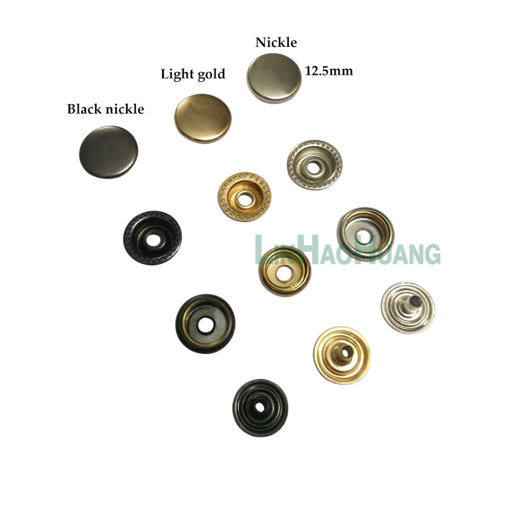 100sets/lot 12.5mm four part brass metal button ring snap press button snap fasteners silver, black nickle ,ligth gold+tools image