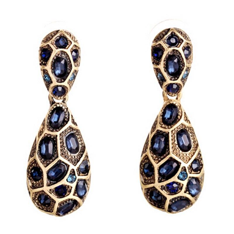 New Design Bohemian Fashion Vintage Blue Gem Brand Earrings For Women Hot Sales European And