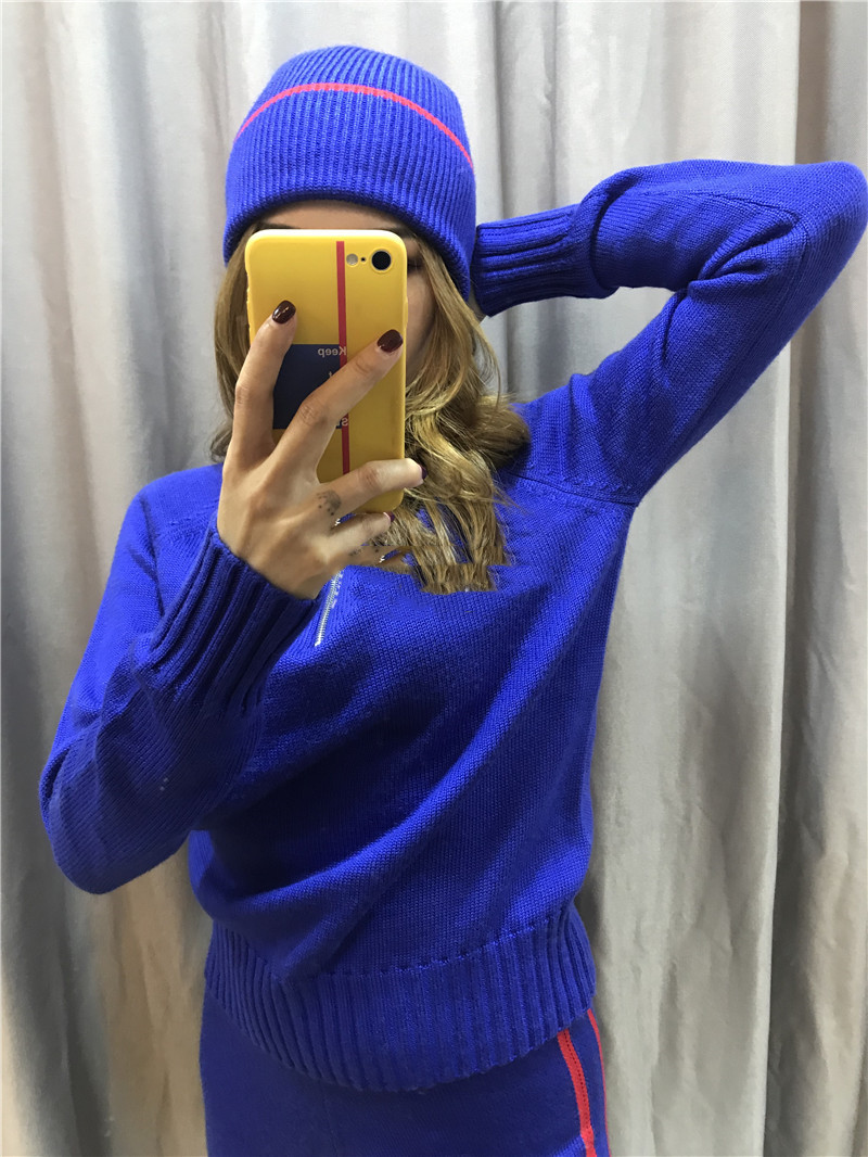 High Hot Sale Drawstring Turtleneck Full Quality Knitting Suit Woman 2019 New Warm Wool Casual Sweater + Pants Two-piece Female