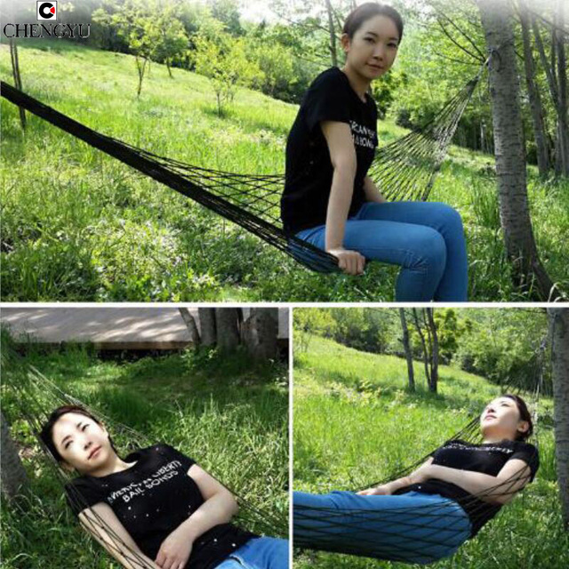 single or Double hammock Mesh Thicken camping indoor and outdoor Swing go to bed colorful Dirt Easy to fold carry