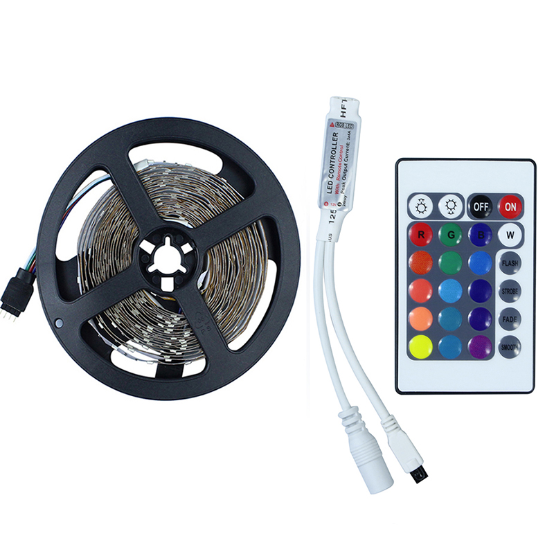 RGB LED Strip Flexible Lights DC12V SMD 2835 300LED 5M Lampada LED Light Tape Ribbon Lamp +Mini     -> Lampada Led Rgb