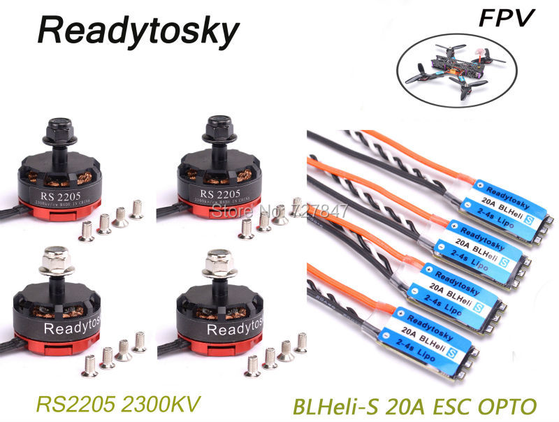 4 pcs Mini BLHeli-S 20A ESC OPTO + 4 PCS RS2205 2205 CW/CCW 2300KV Brushless Moteur pour FPV Course Drone Martien II III QAV-X 214