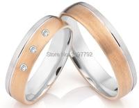Роскошные мужского покроя Роза цвет золотистый titanium Свадьба годовщина полоса кольца наборы для обувь для мужчин и женщин