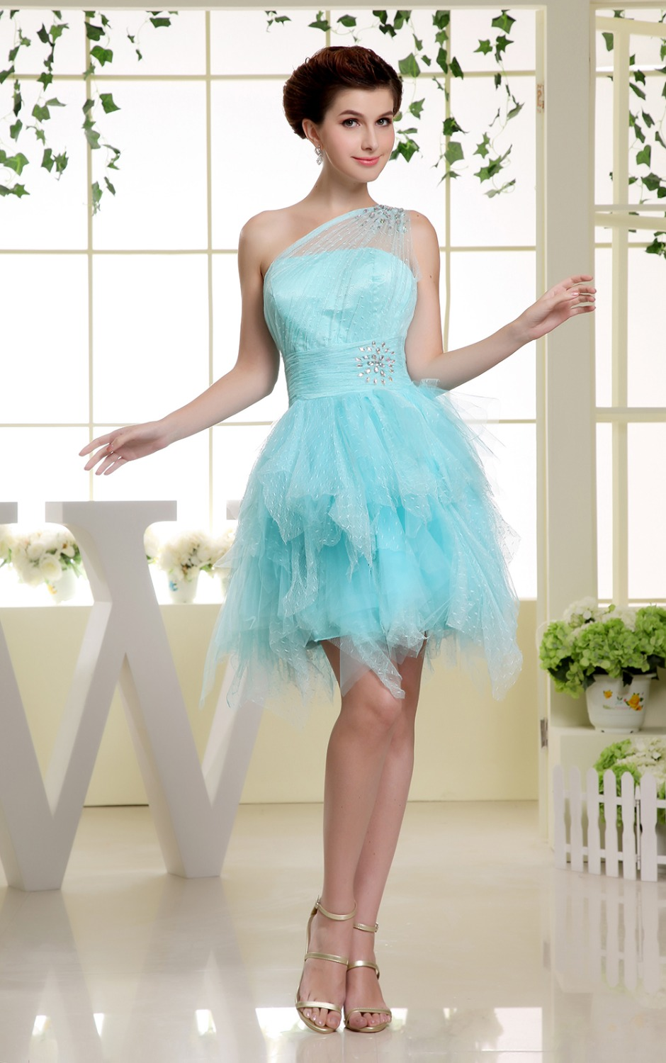 Real Photo Light Blue Short Homecoming Dresses Mini One Shoulder ...