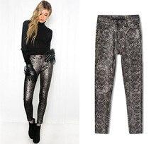 Sexy women high waist pencil pants european style autumn winter pu leather  D906