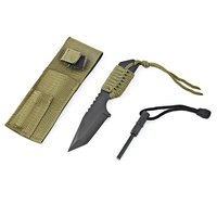 Stainless Steel Camping Knife With Outdoor Survival Fire Starter Maker Outdoor Military Full Tang Blade Knife