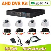 AHD видеорегистратор комплект видеонаблюдения Системы 4CH AHD DVR комплект видеонаблюдения 4 шт. 1.0MP/2.0MP безопасности Камера Ночное видение plug and