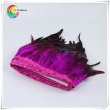 wholesale 2 yards long high quality natural Rooster Feather Fringe Dyed rose red with Satin Ribbon Tape for skirt(China)