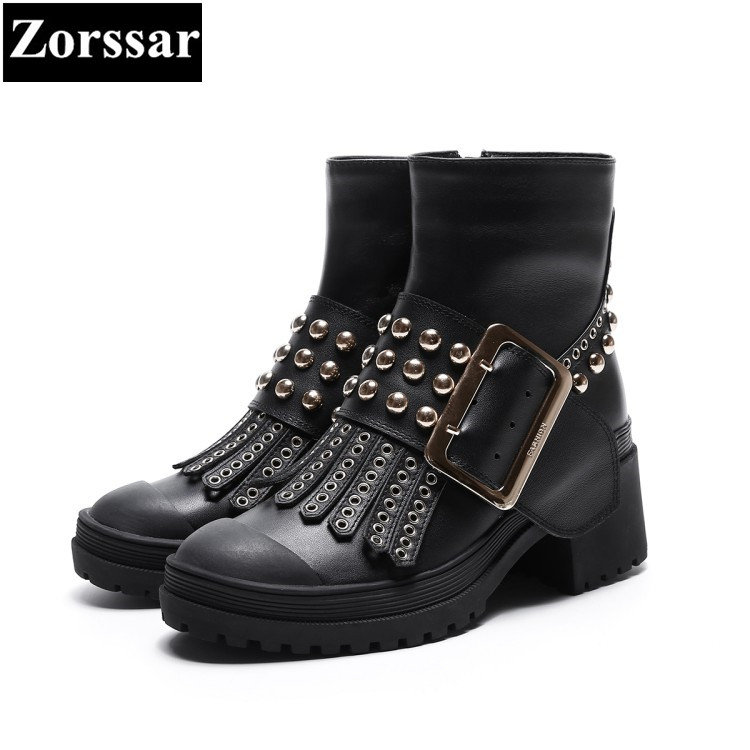 {Zorssar} 2018 NEW fashion rivet punk style women boots Round Toe High heels womens ankle boots shoes Autumn winter women shoes zorssar brands 2018 new arrival fashion women shoes thick heel zipper ankle chelsea boots square toe high heels womens boots