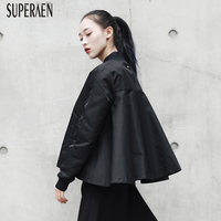 SuperAen Europe Solid Color Women Jacket Cotton Wild Loose Casual Ladies Coats 2018 Spring New Zipper