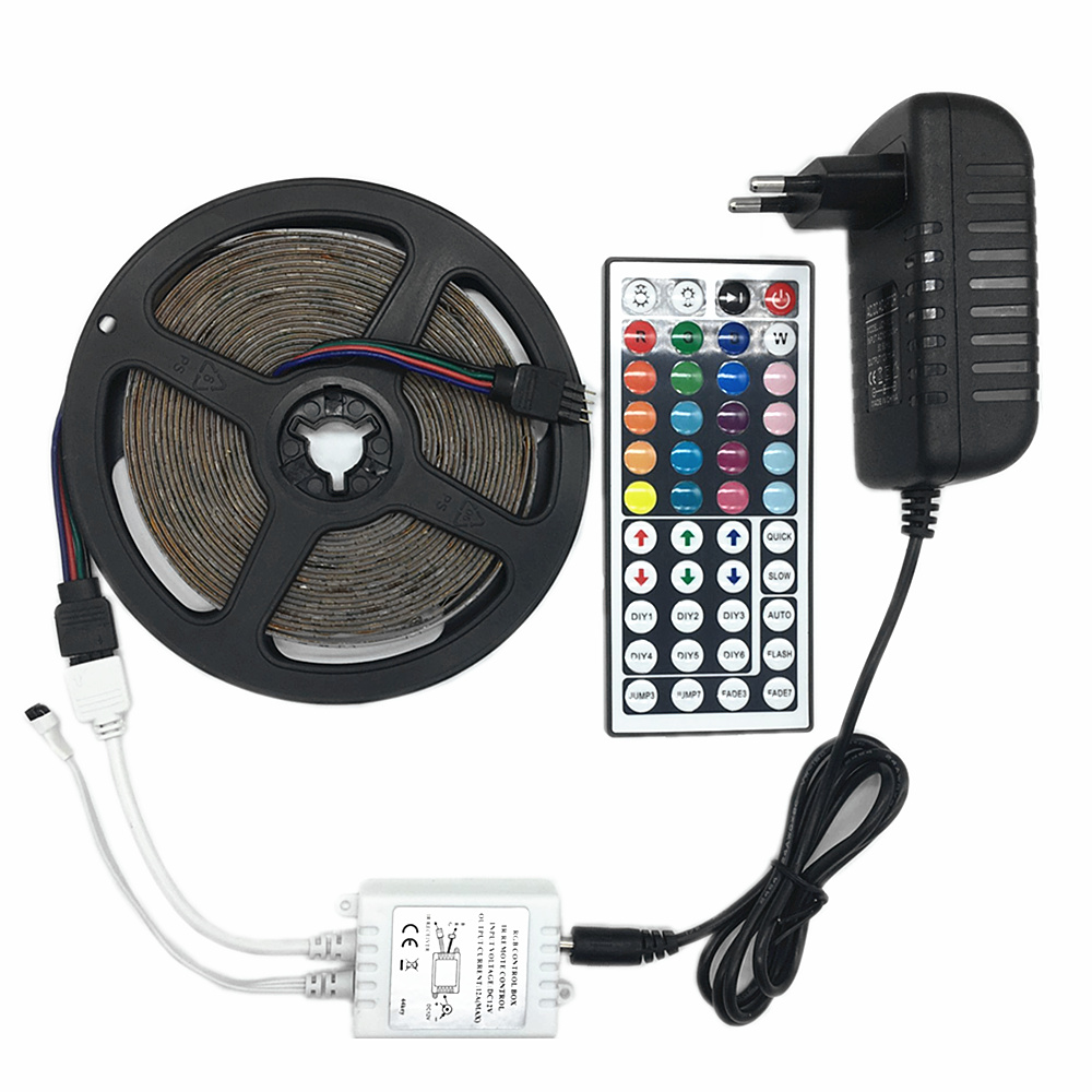 IP20 IP65 waterproof RGB LED Strip light DC 12V 5M 10M LED lighting 3528 2835 SMD LED lamp Tape 3A Power Adapter IR Remoter in LED Strips from Lights Lighting