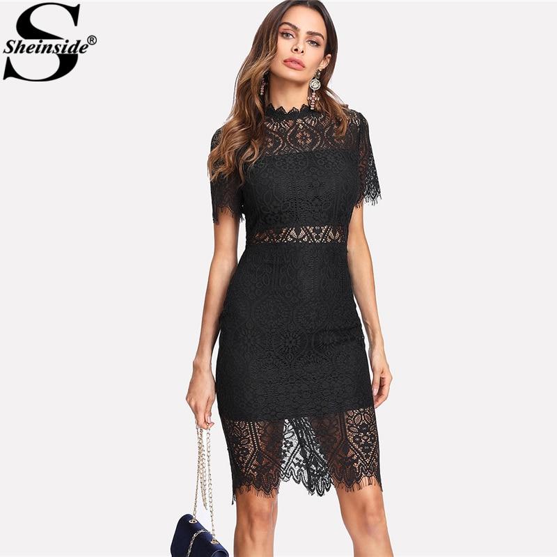 Sheinside 2018 Party Dress Black Stand Collar Short Sleeve Plain Eyelash Lace Dress Women Elegant Scallop Trim Midi Dress