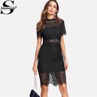 Sheinside 2018 Party Dress Black Stand Collar Short Sleeve Plain Eyelash Lace Dress Women Elegant Scallop