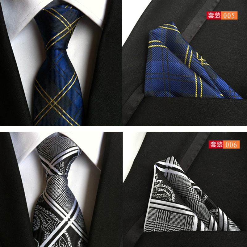 Mantieqingway Classic Paisley Striped Printed Handkerchiefs Tie Set Formal Wear Business Suit 8cm Necktie Fashion Polyester Ties