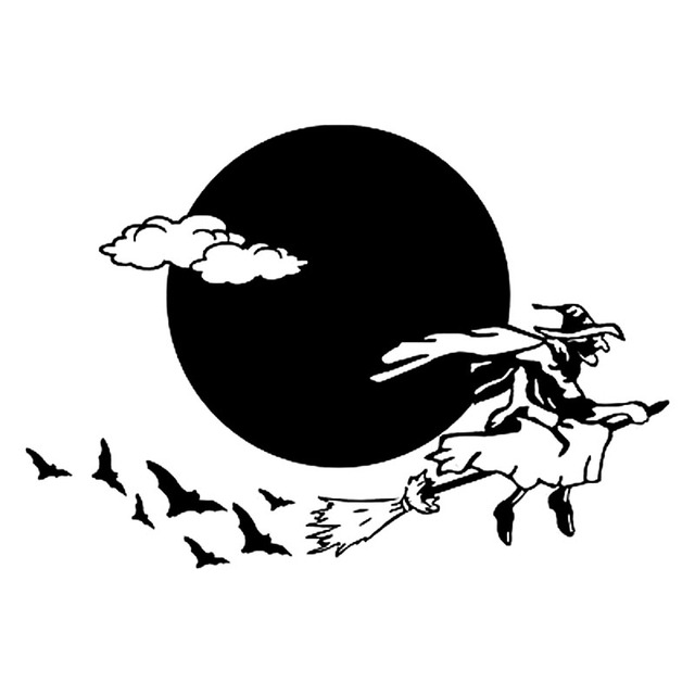 196cm135cm halloween flying witch funny vinyl decals blacksilver car sticker