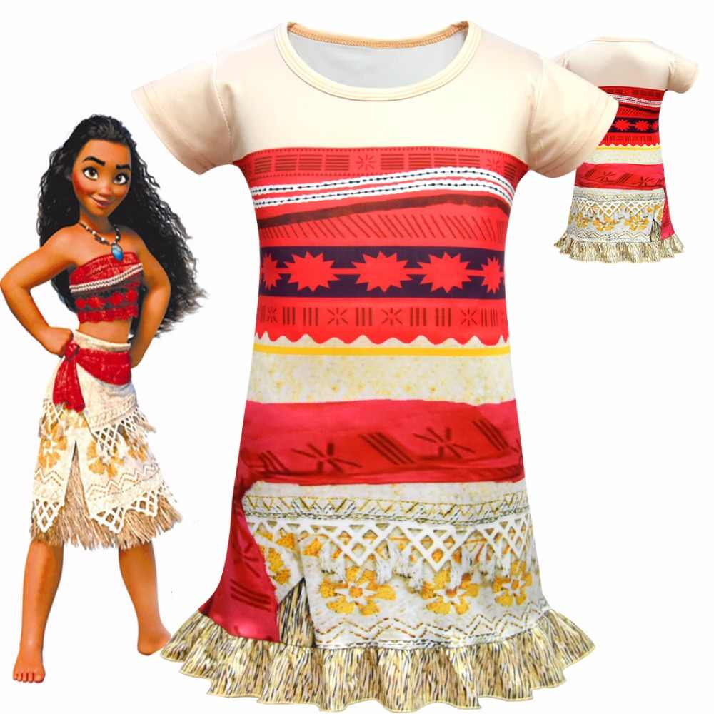 b4f0b9e7e Moana Dress Ocean Romance Cosplay Party Elegant Satin Dress for Girls  Children Cosplay Clothes Baby Girls