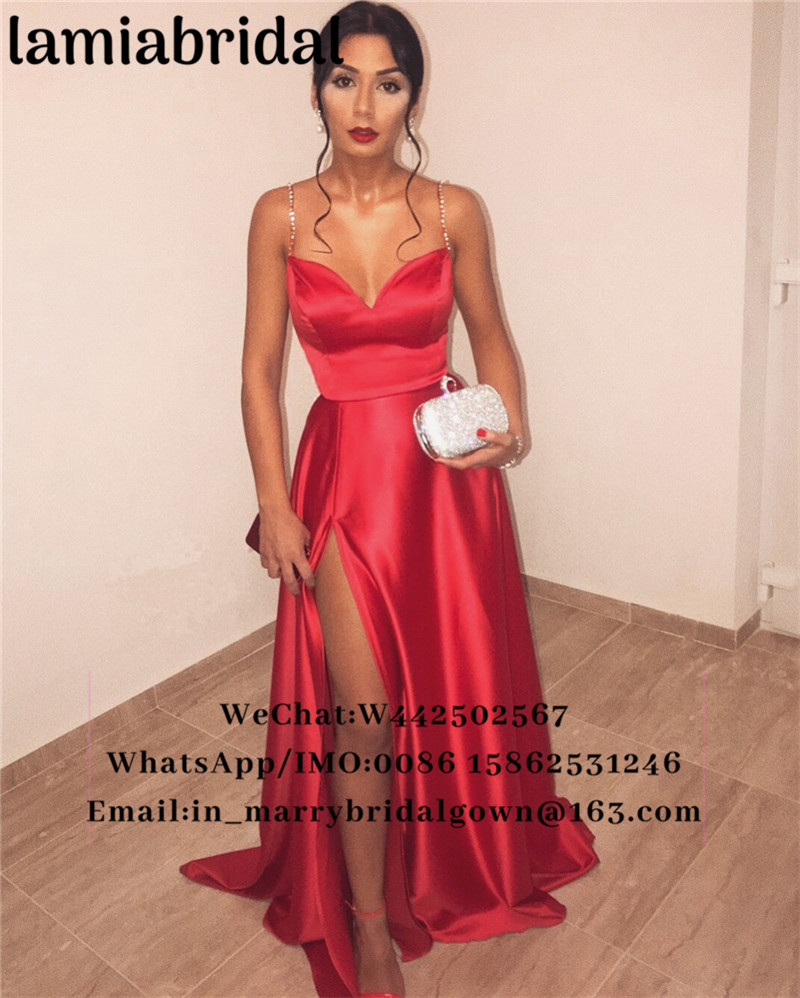 Sexy Red Plus Size Cheap 2K19   Prom     Dresses   A Line Crystals High Split Long 2019 Couple Fashion Formal Evening Vestidos De Fiesta