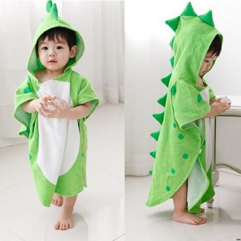 Hooded With Paw Dinosaur Ponchos Hooded Children's Bath Towel Kids BeachTowel Infant Bathrobe