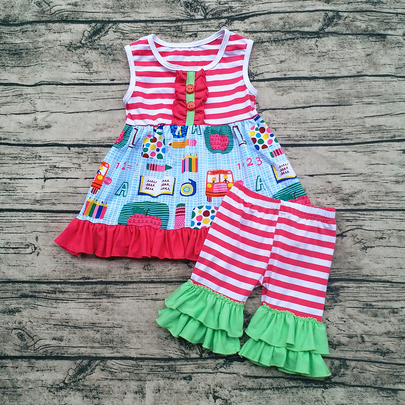 AICTON Back to school 1-7 years old girls outfit Clothes Set Custom Cotton Ruffle Western Outfit Girls Back To School блокнот в клетку с вашим текстом back to school
