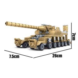 Image 2 - Huiqibao 544個16in1軍事戦車ビルディングブロックスーパー車両飛行機トラック車船軍レンガ教育玩具子供のため
